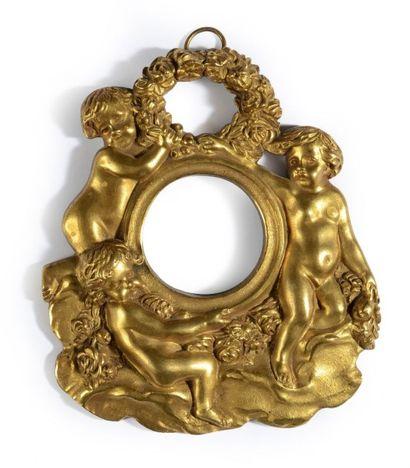 Cadre à miniature en bronze doré à décor...