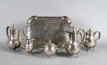 Service thé café en métal argenté, composé...
