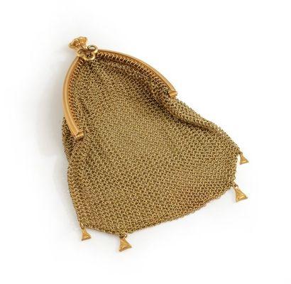 Porte-monnaie en cote de mailles d'or jaune...