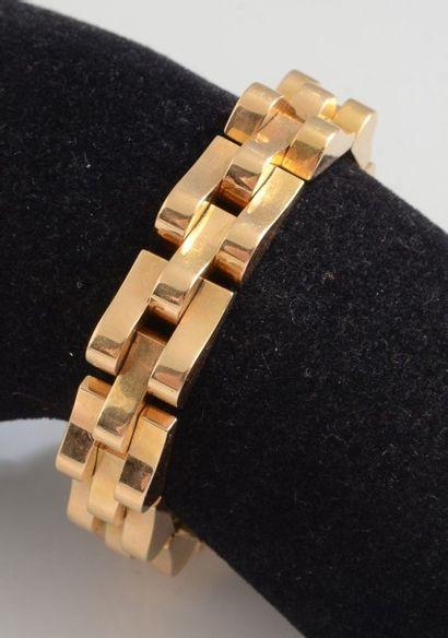 Bracelet articulé en or rose 18K, maillons...