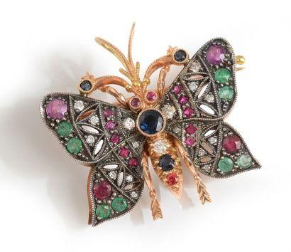 Broche papillon en or rose et gris 14K, les...