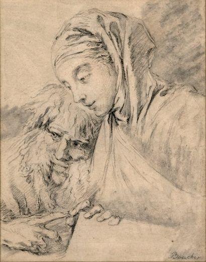 Ecole FRANCAISE du XXe siècle, Jeune femme et vieillard Pierre noire 26,5 x 20 cm...