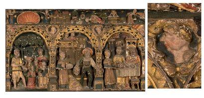 Important panneau en tilleul sculpté en bas-relief,...
