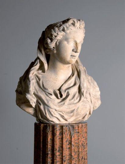 Paire de bustes de femmes drapées à l'antique...