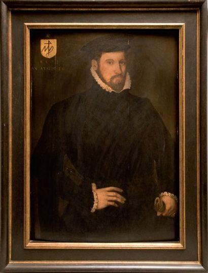 Ecole Anglaise du xviie siècle Portrait d'homme la dague Panneau, quatre planches,...