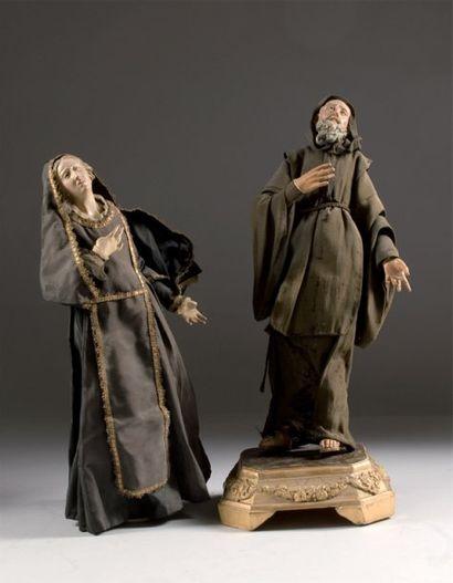 Paire de santons napolitains, en bois polychrome,...