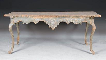 Table de milieu en tilleul peint bleu-gris,...