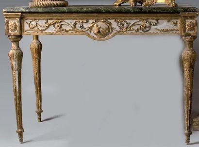 Table console en bois et stuc laqué gris...