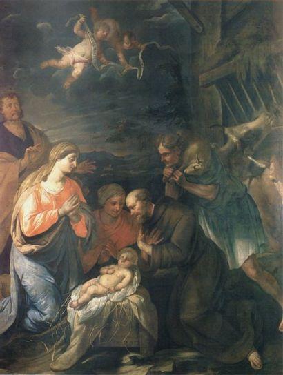 Jan van DUYTS (Anvers 1629 - 1676) L'adoration des bergers Huile sur toile, signée...