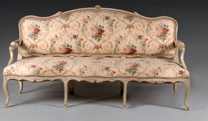 Grand canapé en bois laqué gris et rechampi...