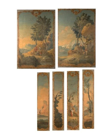 Ensemble de sept toiles peintes, XIXe siècle,...