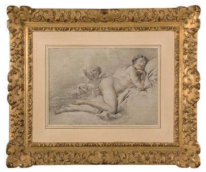 École FRANÇAISE du XIXe siècle, Jeune femme étendue, entourée par un putto et une...
