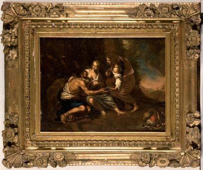ÉCOLE ITALIENNE du XVIIIe siècle, Loth et ses filles. Panneau, une planche, non parqueté....