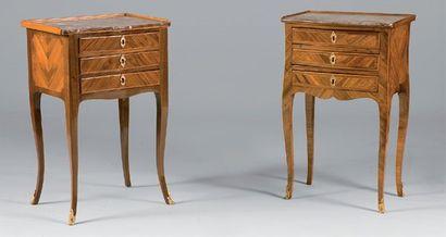 Deux tables de salon en placage de bois de...