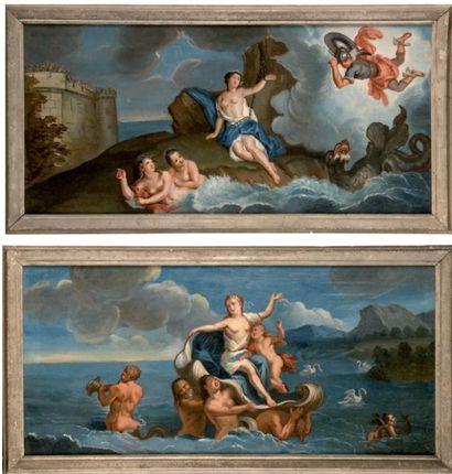 École FRANÇAISE du XVIIIe siècle, Persée délivrant Andromède. Le triomphe d'Amphitrite....