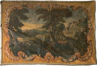 Toile peinte du XVIIIe siècle, paysage et...