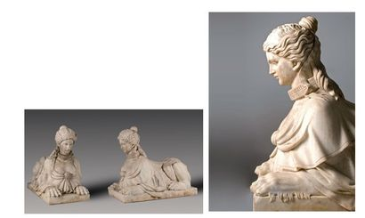 Importante paire de sphinges en marbre blanc....