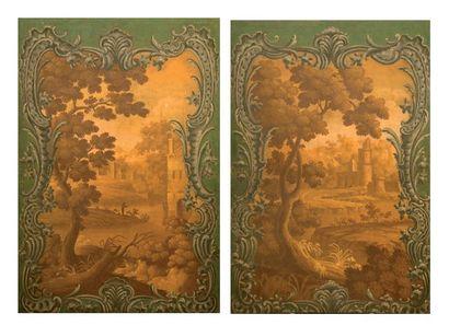Deux toiles peinte, fin XIXe siècle, décors...