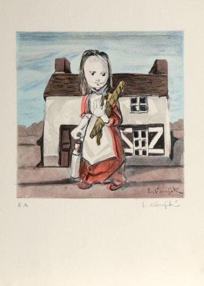 Léonard FOUJITA (186 -1968) La jeune fille au pain. Lithographie en couleurs, tirée...