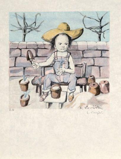 Léonard FOUJITA (1886-1968) Le jardinier. Lithographie en couleurs tirée à 150 exemplaires....