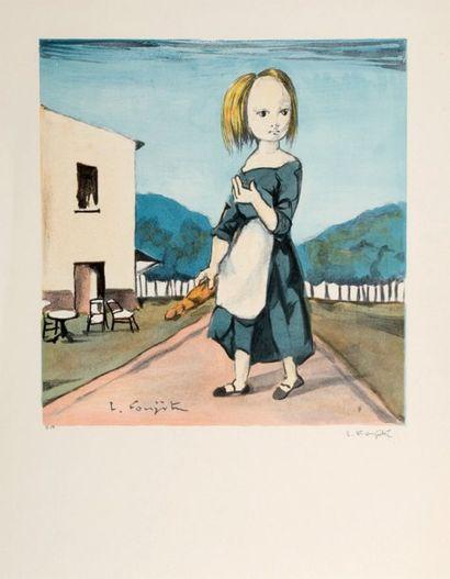 Léonard FOUJITA (1886-1968) La jeune fille au pain. Lithographie en couleurs tirée...