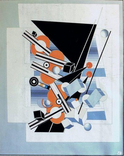 Alain LE YAOUANC Composition triangle noir et sphères orange. Huile sur toile. 174...
