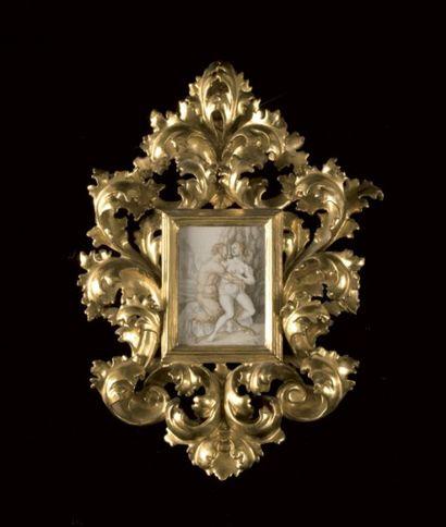 Ecole Italienne du XVIIIe siècle Satyre et Baccante Aquarelle sur vélin. 13 x 10...