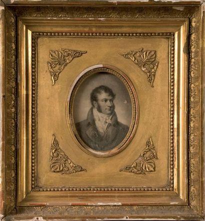 École française du XIXe siècle. Portrait d'homme Pierre à lithographier Beau cadre...