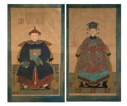 Chine. Paire de portraits d'Empereur et Impératrice...