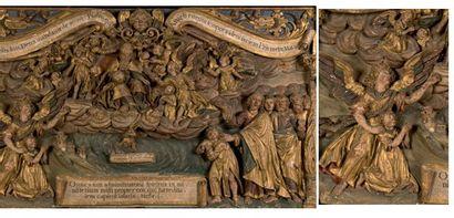 Important panneau en bois sculpté en bas-relief,...