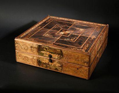 Coffret à jeux décoré en marqueterie de paille, signé CCH et daté 1728 Important...