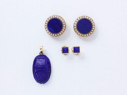 Ensemble en or 750 millièmes et lapis - lazuli...