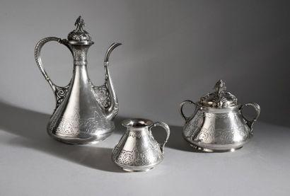 Service à thé en argent d'inspiration orientale...