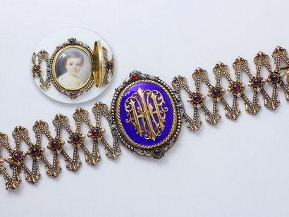 Bracelet en vermeil 800 millièmes, centré...