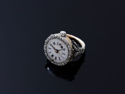 Délicate montre bague en or 750, argent 800...