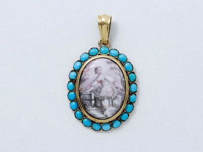 Pendentif en or 750 millièmes, décoré d'une miniature entourée de cabochons de turquoise....
