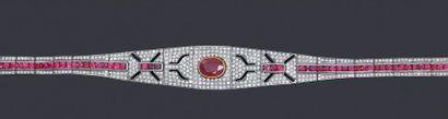 Bracelet plaque articulé en or 585 et argent...