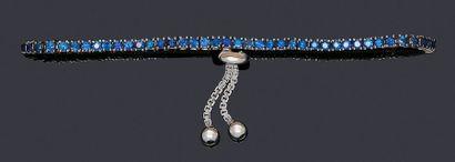 Bracelet ligne articulé en or blanc 750 millièmes,...