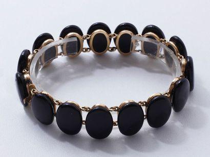 Délicat bracelet de Deuil en or 750 millièmes,...