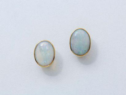 Paire de clips d'oreilles en or 750 millièmes, ornés de cabochons d'opale de belle...