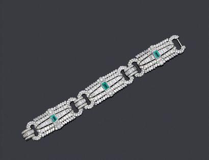 Spectaculaire bracelet en or blanc 750 et...