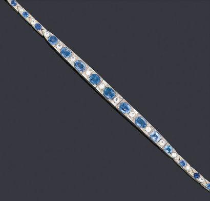 Bracelet articulé en argent 800 lamé or blanc...