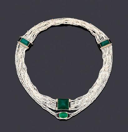 Élégant collier composé de 14 rangs de petites...