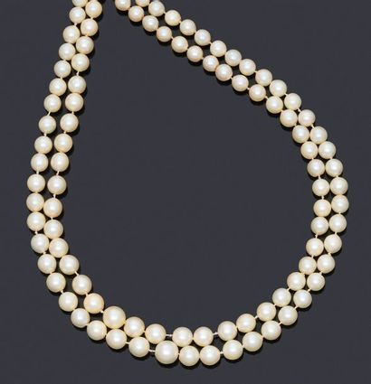 Sautoir en perles de culture légèrement en...