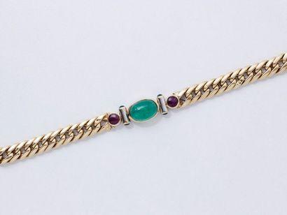 Bracelet en or 750 millièmes, centré d'une...