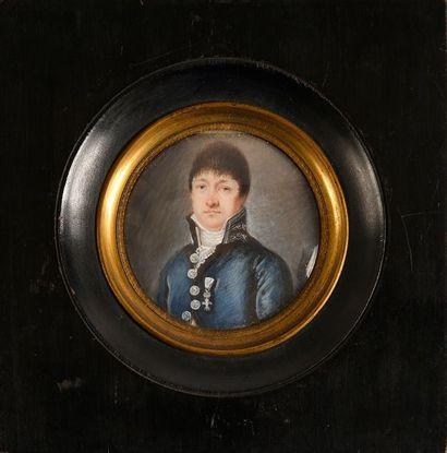 Miniature ronde figurant le portrait d'un...
