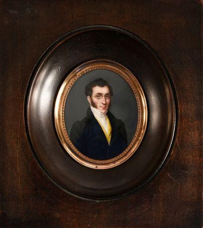 Miniature ovale figurant le portrait de Sir...