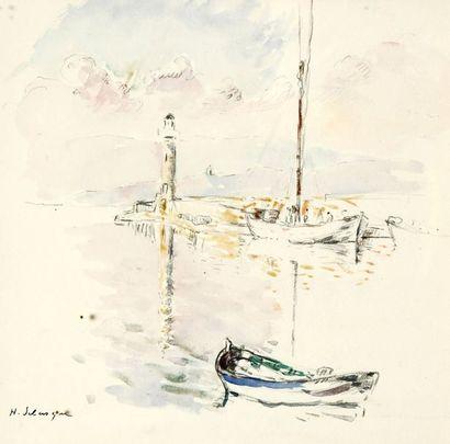 Henri LEBASQUE (1865-1937) Les pêcheurs sur la jetée Esquisse à la mine de plomb...