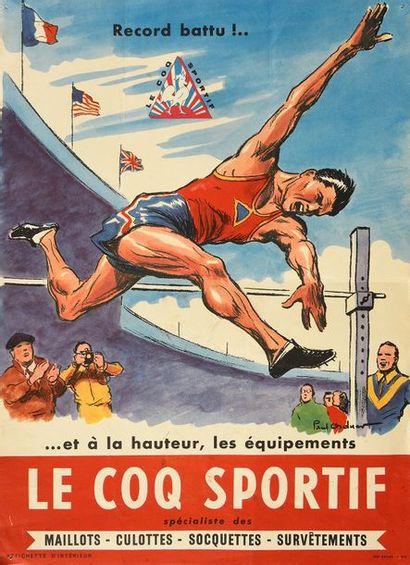 Affichette «Le Coq Sportif» figurant le saut...