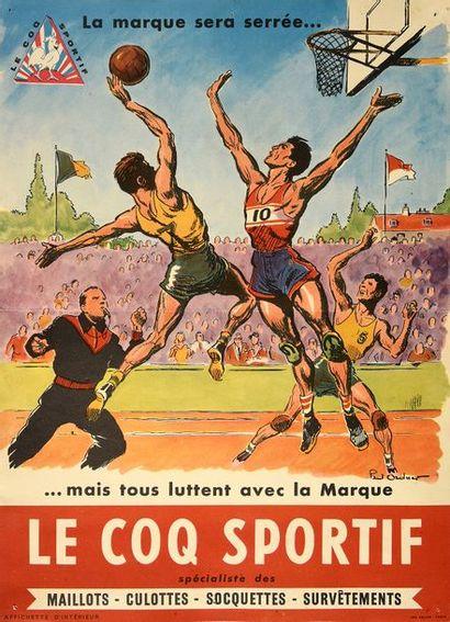 Affichette «Le Coq Sportif» figurant un match...